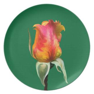 Budding Rose Melamine Plate
