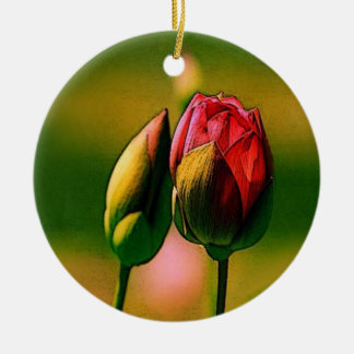 Budding Rose Christmas Tree Ornaments
