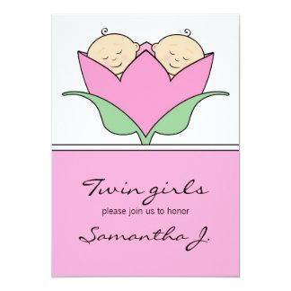 Budding Twins Baby Shower Pink Tulip Invitation