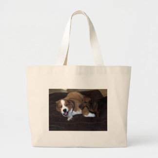 Buddy and Toby: Dogs Hear Me Large Tote Bag