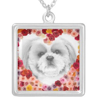 Buddy in a bed of roses locket necklace