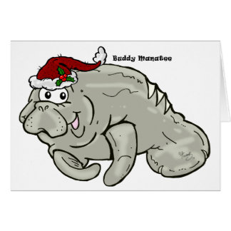Buddy Manatee Christmas Card BLANK