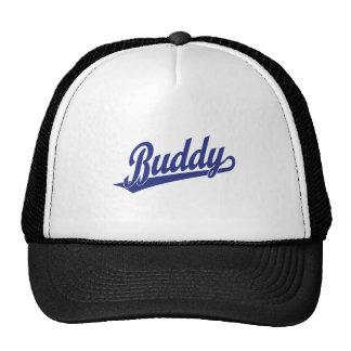 Buddy Script Logo in blue Trucker Hat