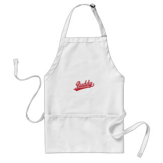 Buddy Script Logo in red Adult Apron
