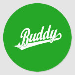 Buddy Script Logo in white Round Stickers