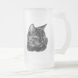 Buddy, Short-Haired Tortoise Cat Frosted Glass Beer Mug