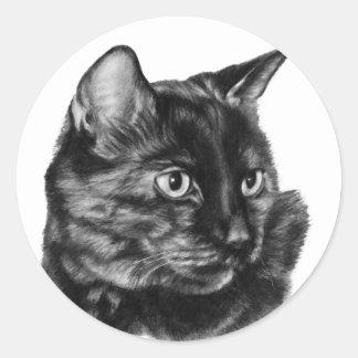 Buddy, Short-Haired Tortoise Cat Classic Round Sticker