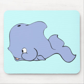 Buddy the Blue Baby Whale Cartoon Mouse Pad