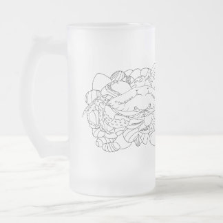 Bude Cornwall Cololuring book apparel - Shore Crab Frosted Glass Beer Mug