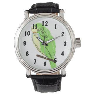 Budgerigar Cute Green Yellow Blue Bird on Perch Wristwatch