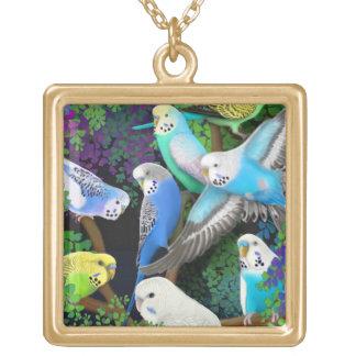 Budgerigar Parakeets in Ferns Necklace