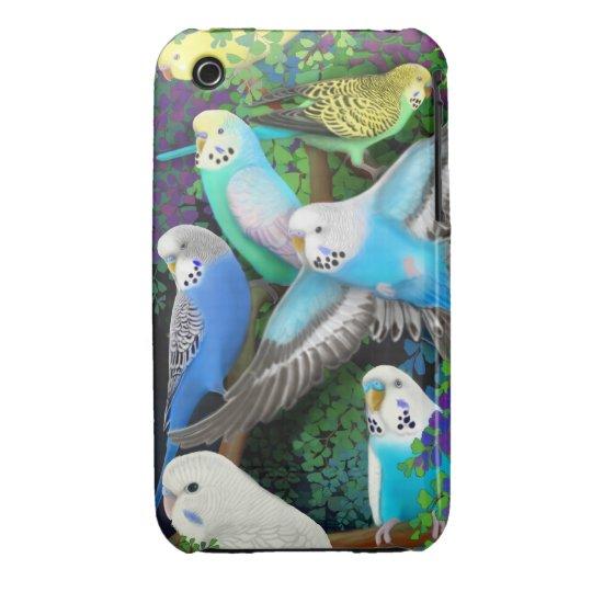 Budgerigar Parrots in Ferns iPhone 3 Case