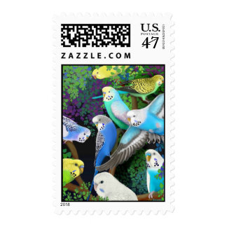 Budgerigars and Ferns Postage