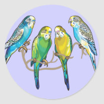 budgerigars classic round sticker