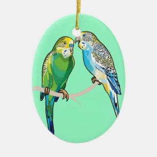budgerigars adorno ovalado de cerámica