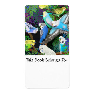 Budgerigars in Ferns Bookplate Personalized Shipping Labels