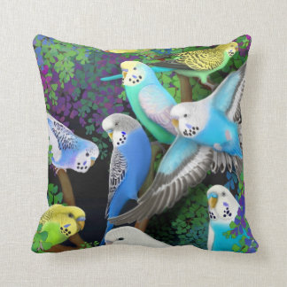 Budgerigars in Ferns Pillow