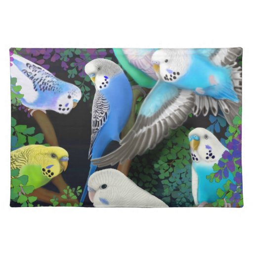 Budgerigars in Ferns Placemat Cloth Place Mat