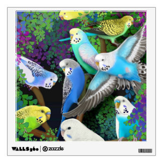 Budgerigars in Ferns Wall Decal