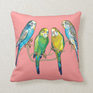 budgerigars throw pillows