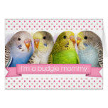 Budgerigars realistic painting greeting cards