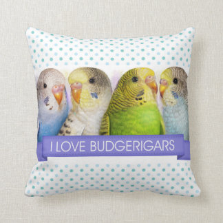 Budgerigars realistic painting pillows
