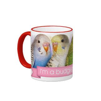 Budgerigars realistic painting ringer mug