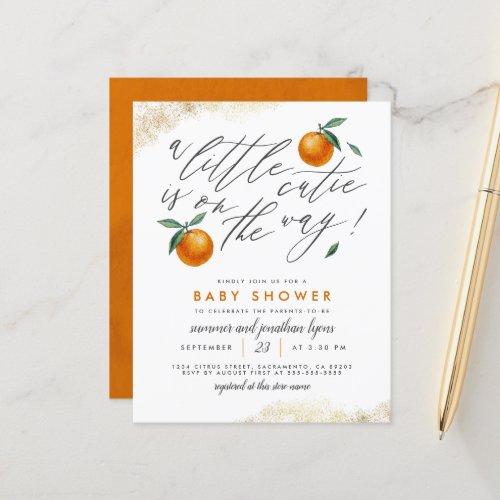 Budget A Little Cutie Orange Neutral Baby Shower