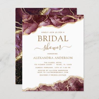 Budget Agate Burgundy Bridal Shower Gold