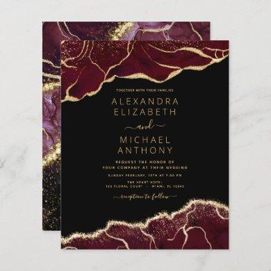 Budget Agate Burgundy Gold Wedding Invitation