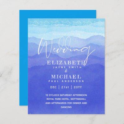 BUDGET Aqua Ocean Wedding Invite Beach Destination