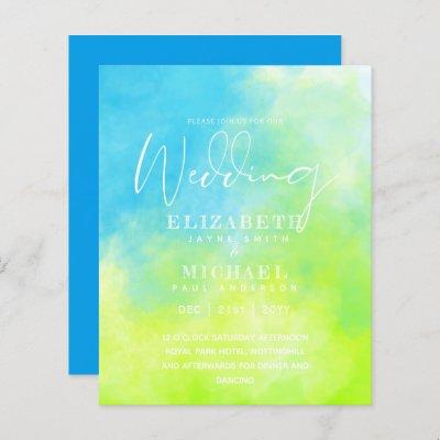 BUDGET Aqua Watercolor Wedding Invite Ocean Beach