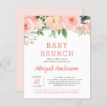 """Budget Baby Brunch Watercolor Floral Invitation<br><div class=""""desc"""">Personalize this Blush Pink, White, and Coral - Peach Elegant and Modern Watercolor Spring Style Baby Brunch Baby Sprinkle Invitation on white background with your message and details. This stylish budget friendly invitation includes rose flowers and modern botanical greenery with cute and elegant script typography for the special Mother to...</div>"""