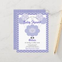 Budget Baby Shower Cute Purple Lamb Invitation