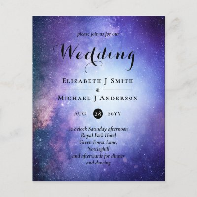 Budget Blue Night Sky Wedding Invites Modern