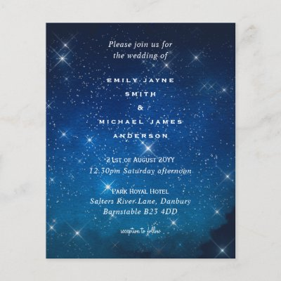 Budget Blue Starry Night Sky White Stars Wedding