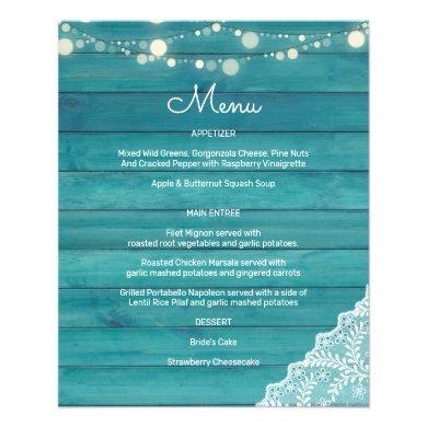 Budget Blue Wood, String Lights & Lace Menu