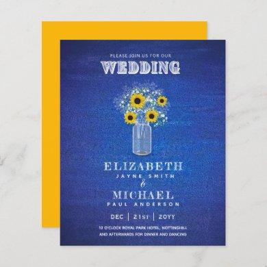 BUDGET Blue Yellow Sunflowers Wedding Invite