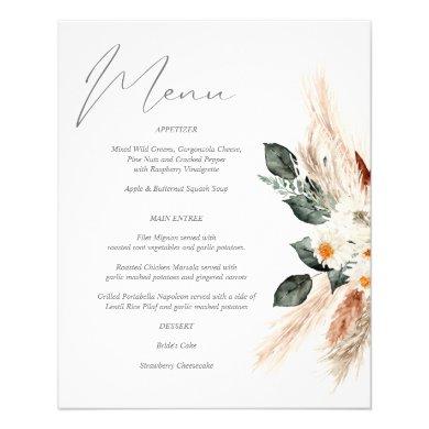 Budget Boho Copper &  Beige Floral Menu Flyer