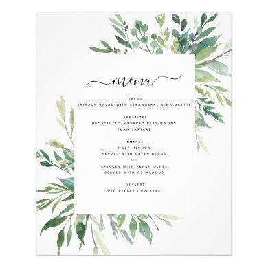 Budget Botanical Greenery Foliage Wedding Menu