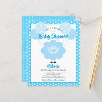 Budget Boy Baby Shower Cute Blue Lamb Invitation