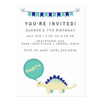 Budget Boy's Blue Dinosaur Birthday Party Invites Postcard