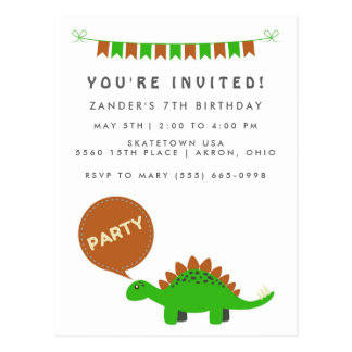 Budget Boy's Green Dinosaur Birthday Party Invites Postcard