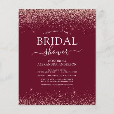 Budget Bridal Shower Burgundy Rose Gold Glitter