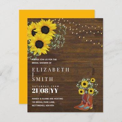 BUDGET Bridal Shower Invite Rustic Sunflowers