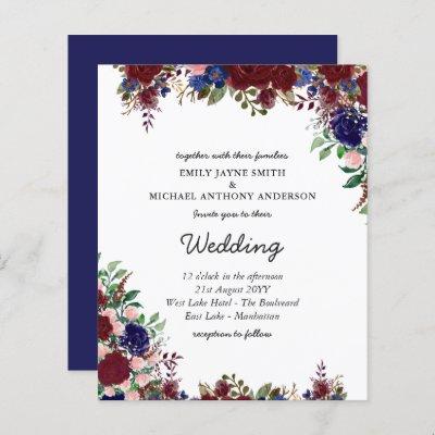 Budget Burgundy Blue Floral Wedding Invites