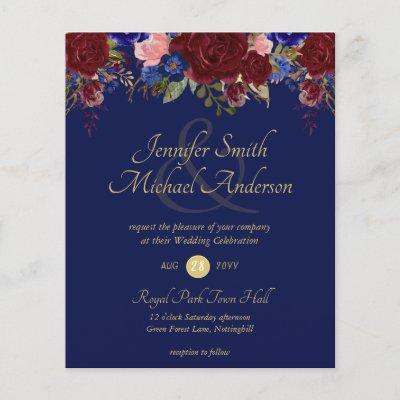 Budget Burgundy Blue Gold Wedding Invitations