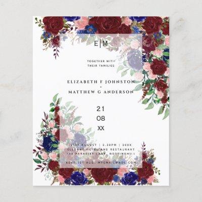 Budget Burgundy Blue Pink Floral Wedding Invites