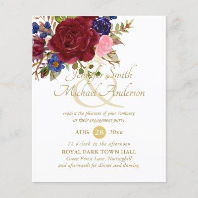 Budget Burgundy Blue Pink Rose Wedding Engagement