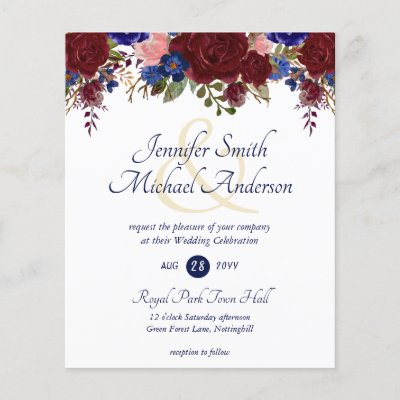 Budget Burgundy Blue Pink Wedding Invitations